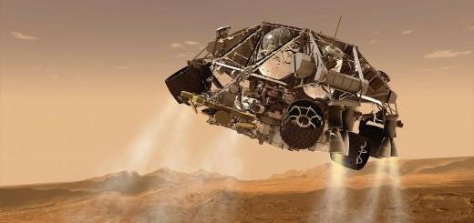 Mars Roboter Rover landet auf der Planetenoberfläche