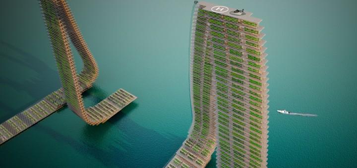 Floating Responsive Agriculture auf dem Fluss
