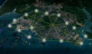 Netzwerk der Floating Responsive Agriculture in Singapur