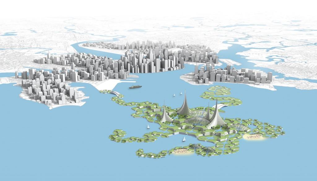 Rendering der Floating City (Bild: DeltaSync/ Blue21)